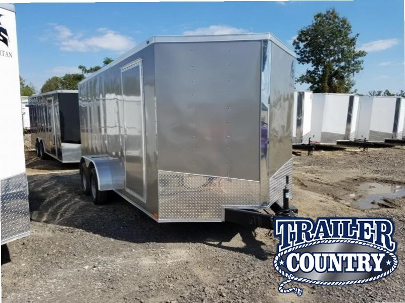 7x16 Enclosed Cargo Trailer-Ramp Door-Pewter