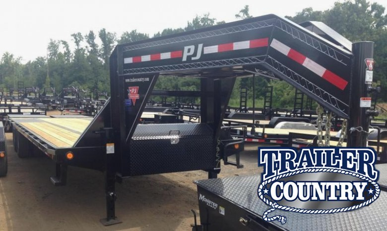 102x30 PJ Lo Pro Gooseneck Flatdeck with 10K Duals-Monster Ramps