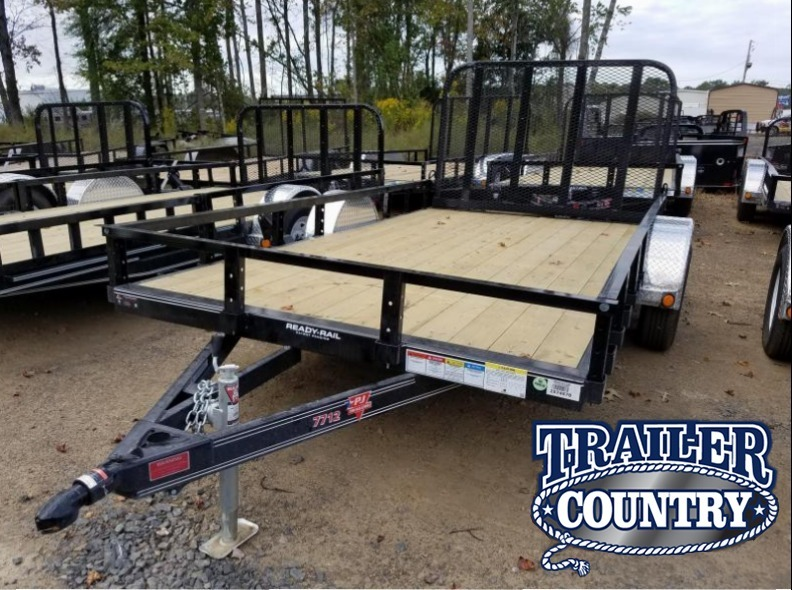 77x12 PJ Utility Trailer-Rear Gate-Channel Frame