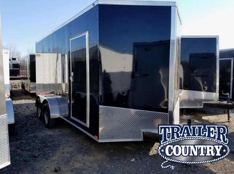 7x16 Enclosed Cargo Trailer-TA-3500lb Axles Ramp Door V-Nose