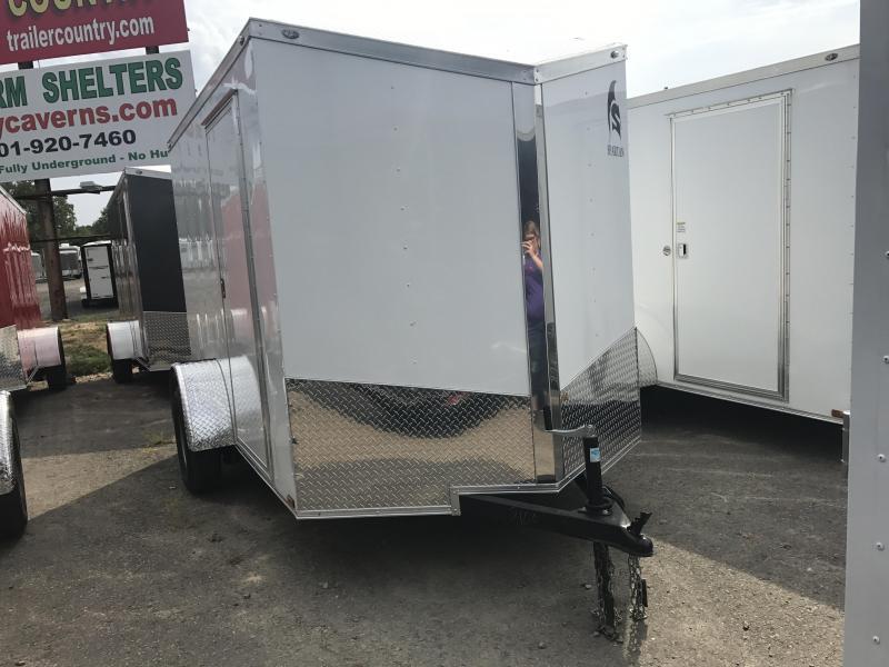 6x10 Enclosed Cargo Trailer-White-Ramp Door