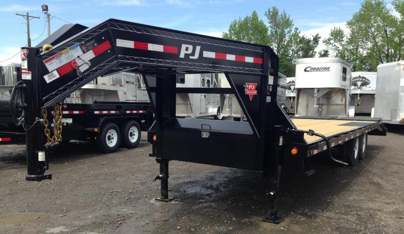 96x24 PJ Gooseneck Deckover Equipment Trailer-Monster Ramps