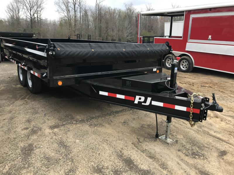 96x16 PJ Deckover Dump Trailer with Tarp -7K Axles