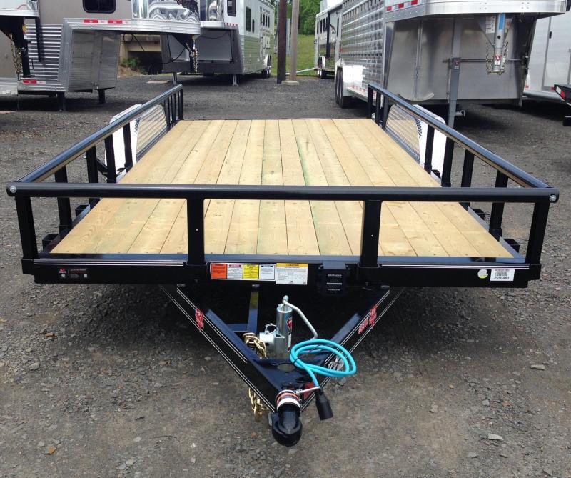 83x14 PJ Tandem Axle Utility Trailer-Rear Gate-Side Ramps-Dovetail