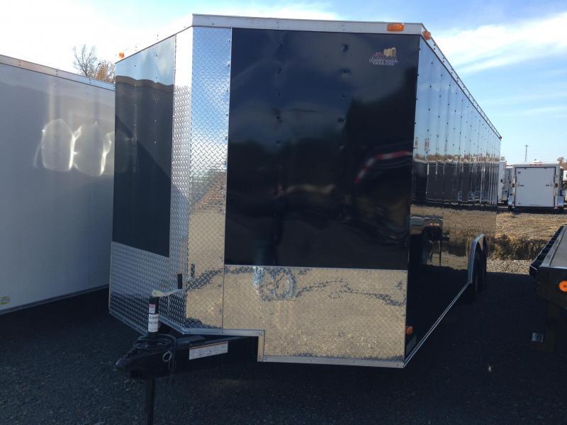 8.5x24 Enclosed Car Hauler Trailer-Black-Ramp Door