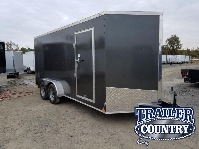 """7x16 Enclosed Cargo Trailer-6'6"""" Height-Ramp Door"""