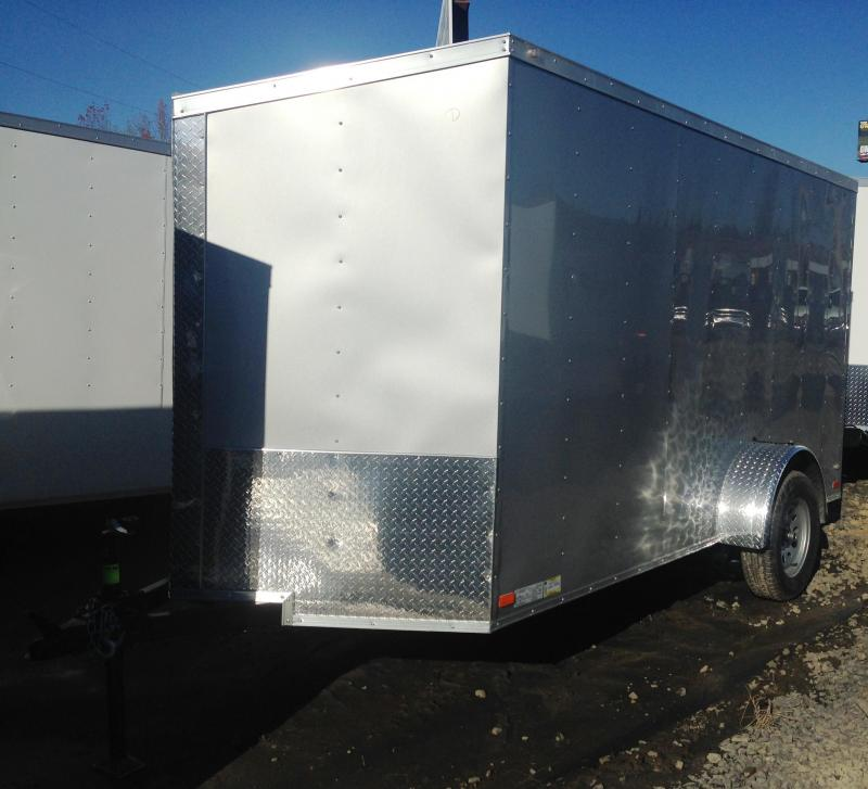 6x12 Enclosed Cargo Trailer-Ramp-Silver-CLEARANCE
