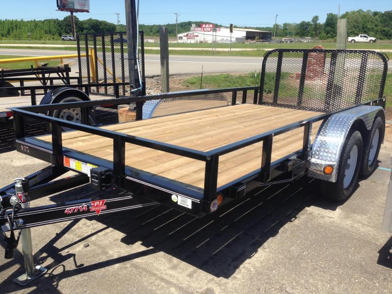 77x14 PJ Tandem Axle Utility Trailer-Dovetail-Rear Gate