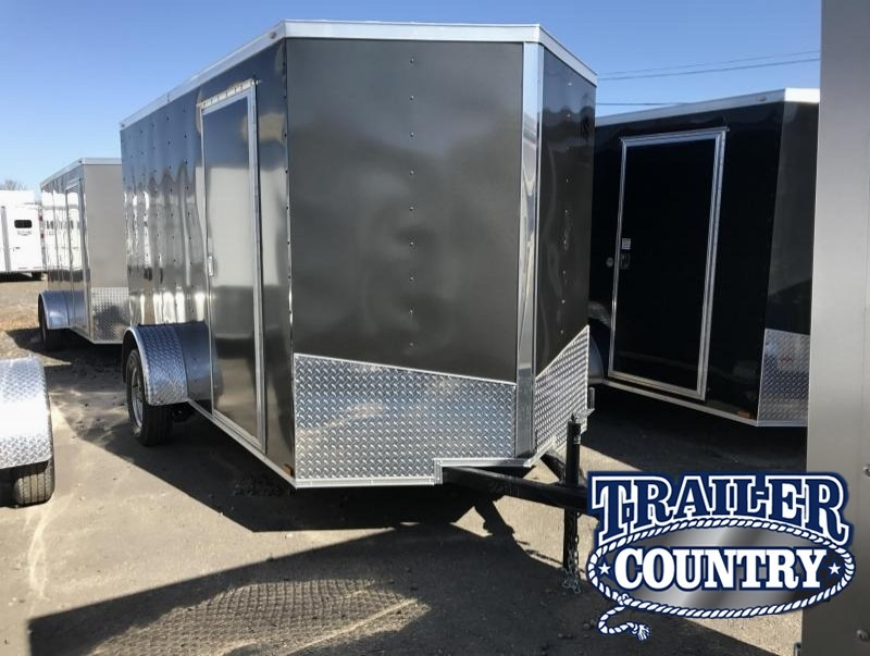 6x12 Enclosed Cargo Trailer-Charcoal-Ramp Door-CLEARANCE
