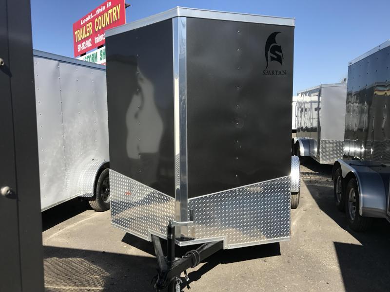 6x12 Enclosed Cargo Trailer-Charcoal-Ramp Door