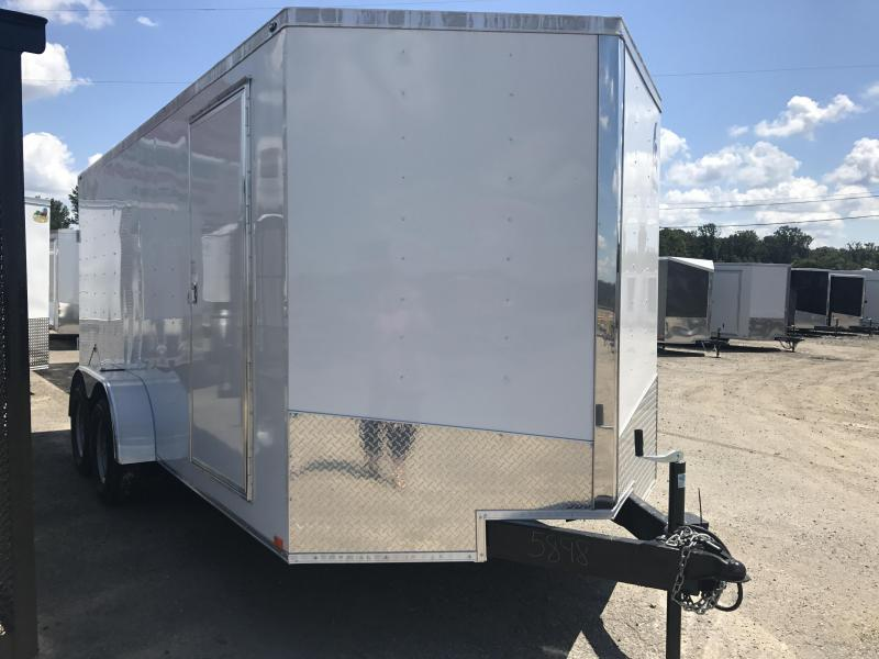 7x16 Enclosed Cargo Trailer-Double Doors-White