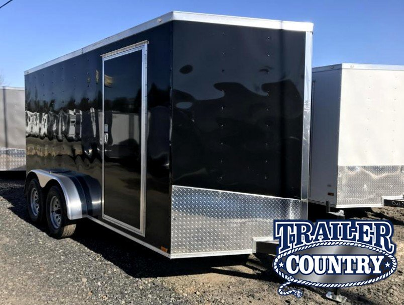 7x14 Enclosed Cargo Trailer-Black-Ramp door-CLEARANCE
