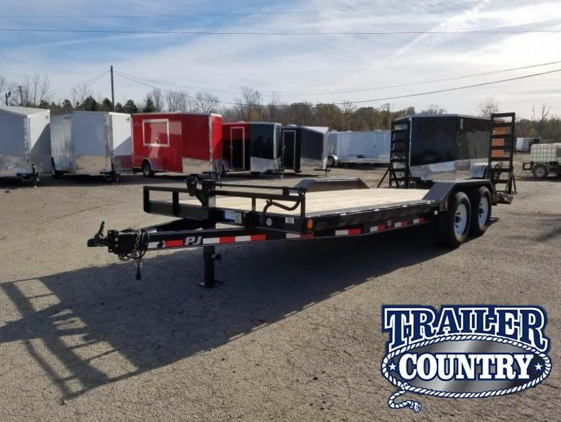 102x24 PJ Superwide-7K Axles-Drive over Fenders-Dovetail-Fold up Ramps