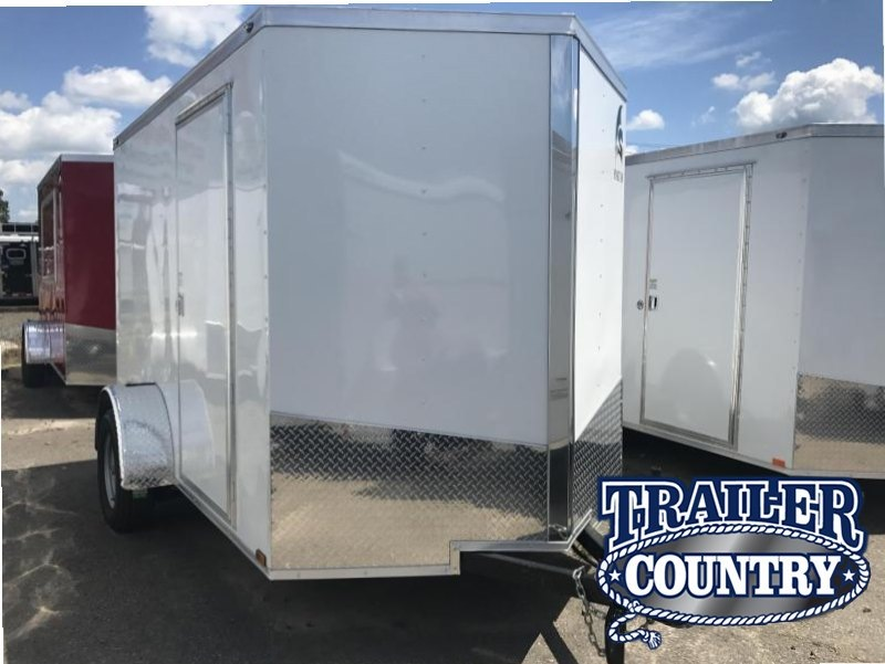 6x10 Enclosed Cargo Trailer-Ramp Door-White