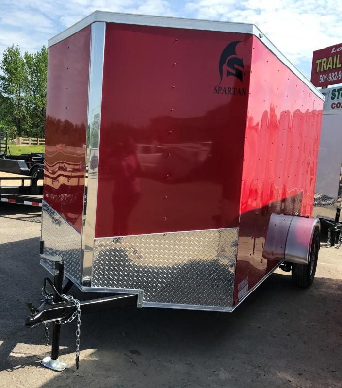 6x12 Enclosed Cargo Trailer-Red-Ramp Door