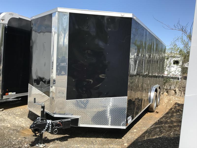 8x20 Enclosed Cargo Trailer-Ramp-Black