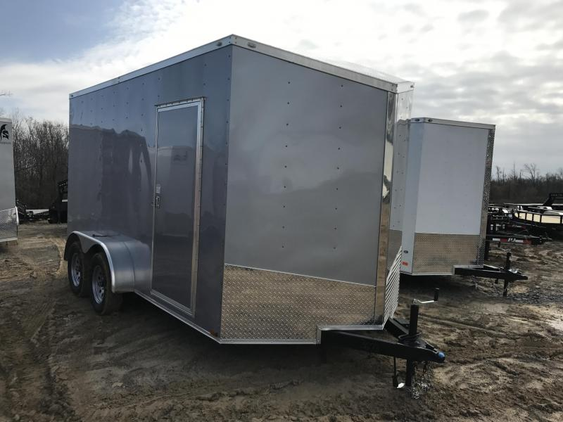 7x14 Enclosed Cargo Trailer-7' Height-Silver-Ramp