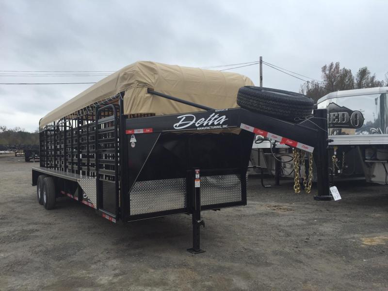 2016 Delta Manufacturing DE 600 CATTLEMAN 24 GN STOCK Horse Trailer