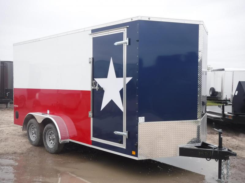 2019 Cargo Mate 7x16 16ft LE Texas Flag Ramp Enclosed Cargo Trailer