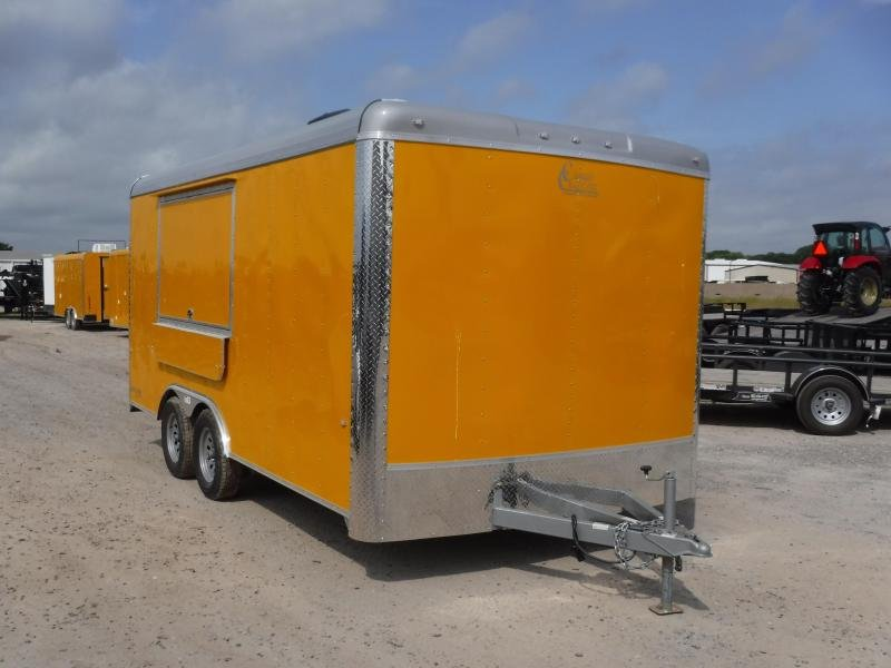 2019 Cargo Craft 8.5x16 16ft Yellow Food Taco BBQ Vending / Concession Trailer