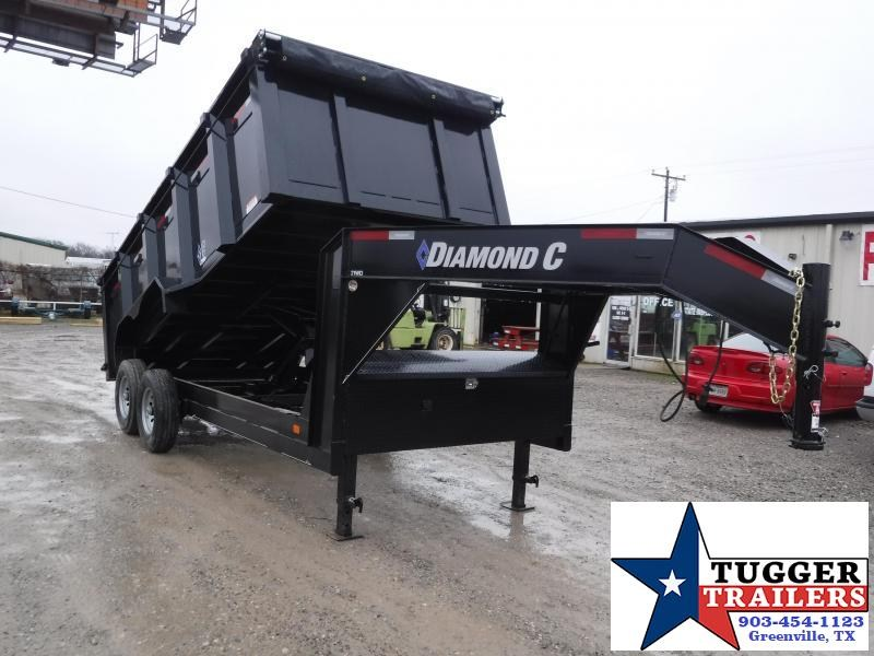 2019 Diamond C Trailers 82X16 16FT Gooseneck Black 2019 21WDL Dump Trailer