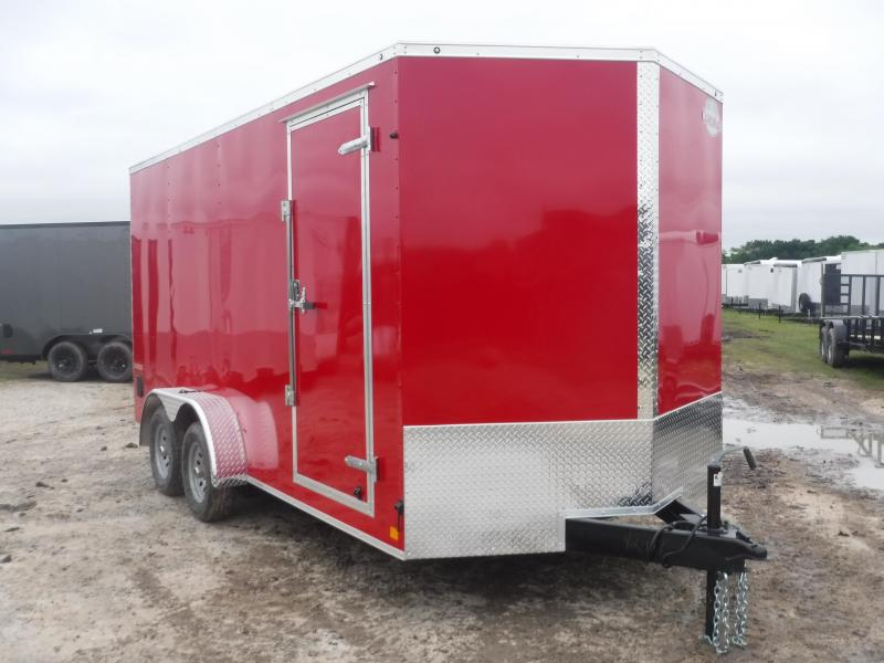 2019 Cargo Mate 7X16 16FT Red Ramp Enclosed Cargo Trailer