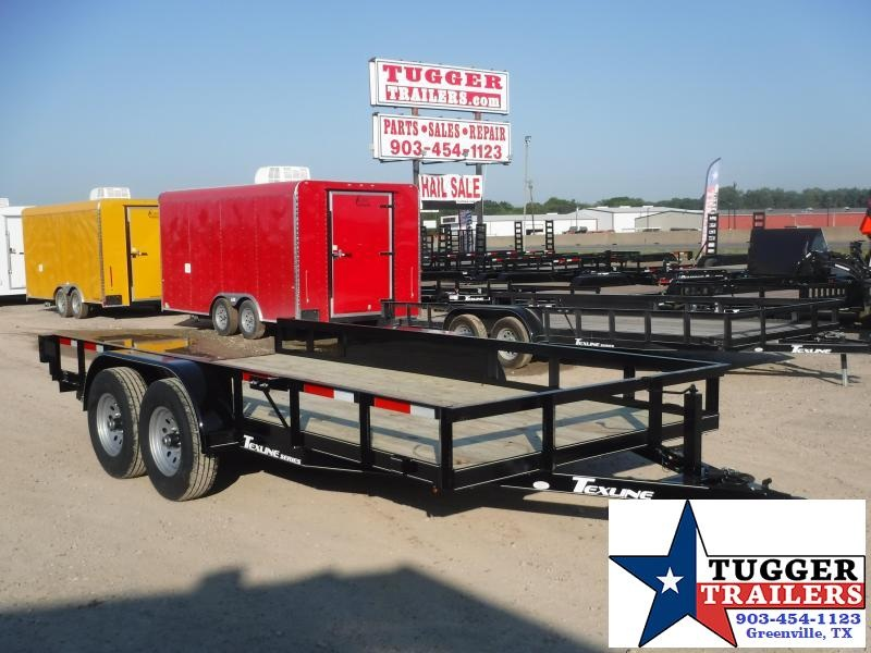 2019 TexLine 83x16 16ft Open Ramp Utility Flatbed Trailer