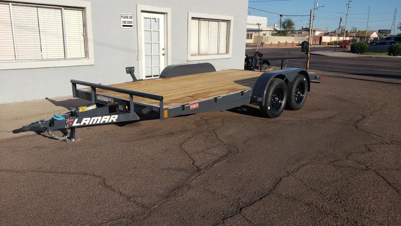2020 Lamar 16' Car hauler, 7000# GVWR, wood deck, 2' dove tail, slide in rear ramps, Free Spare Tire- **cash discounts** See below