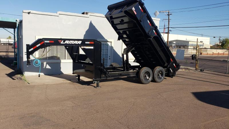 **ON SALE NOW** 2020 Lamar Heavy Duty Dump Trailer- Gooseneck 7x14- 14000# GVWR- 12 inch cross pieces- Scissor Lift- FREE SPARE- Ramps- Deluxe Tarp Kit- 3-way Spreader Gate- Adj Coupler- Rear Support Stands - Cash Discounts (See Below)