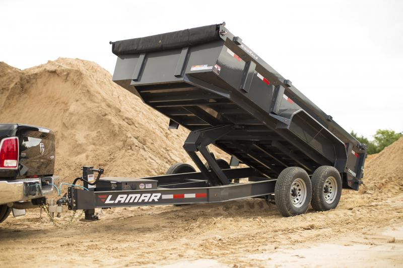 2020 Lamar Dump Trailer- 7 Gauge Floor- 12 inch Cross Pieces- Rigid Rails-Tarp- Ramps- Free Spare Tire- Powder Coated- Lowest Prices- Highest Quality