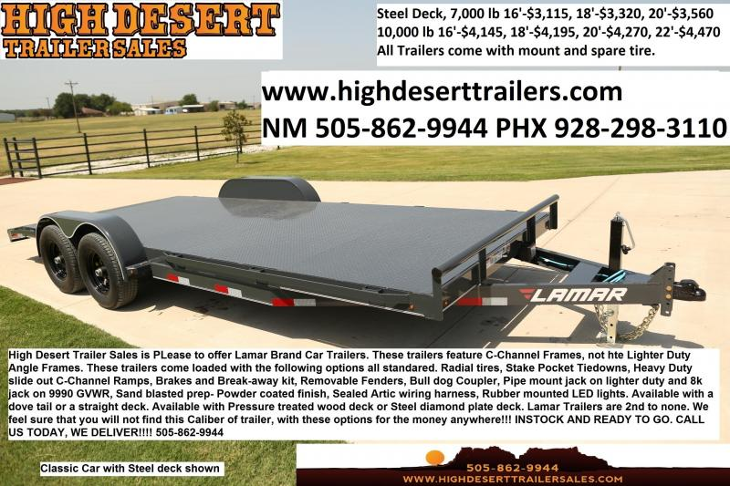 2020 Lamar Car Trailers- Wood and Steel Decks- Free Spare- Ramps- Brakes- Radial Tires- Sealed Wiring Harness- LED Lights- Powder Coated Finish- Removable Fenders