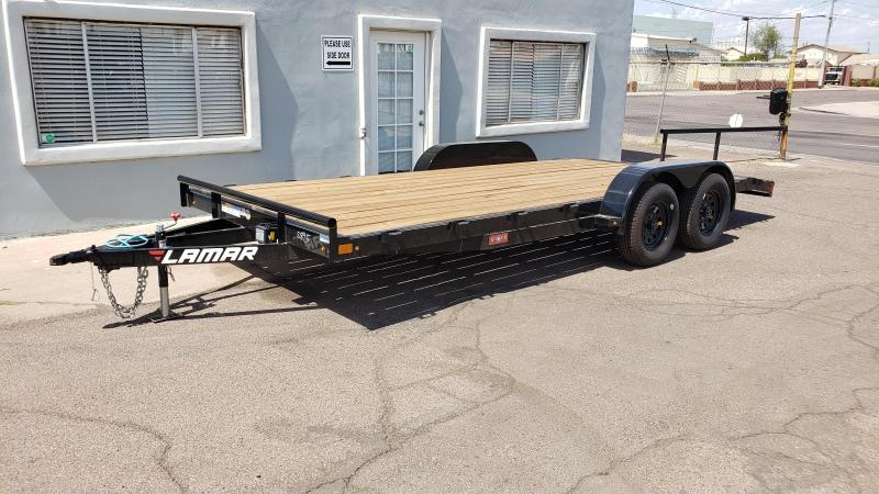 2020 Lamar 18' Open Car hauler 7000# GVWR- wood deck- 2' dove tail- slide in rear ramps- **cash discounts** See below