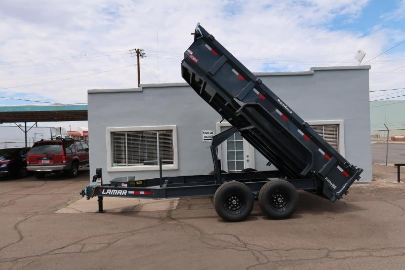 **ON SALE NOW** 2020 Lamar Heavy Duty Dump Trailer- 7x12- 14000# GVWR- 14 Ply Tire Upgrade, FREE SPARE TIRE, 12 inch Cross Pieces, Rear Support Stands, Scissor Lift, Ramps- Deluxe Tarp Kit- 3-way Spreader Gate- Adj Coupler- Cash Discounts (See Below)