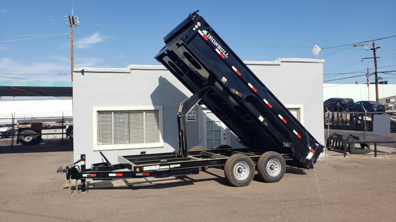 "2020 Ironbull  Dump Trailer 83"" x 16'- 14000# GVWR- 8"" I-beam frame- tarp-spreader gate-ramps- free spare- **cash discounts** see below"