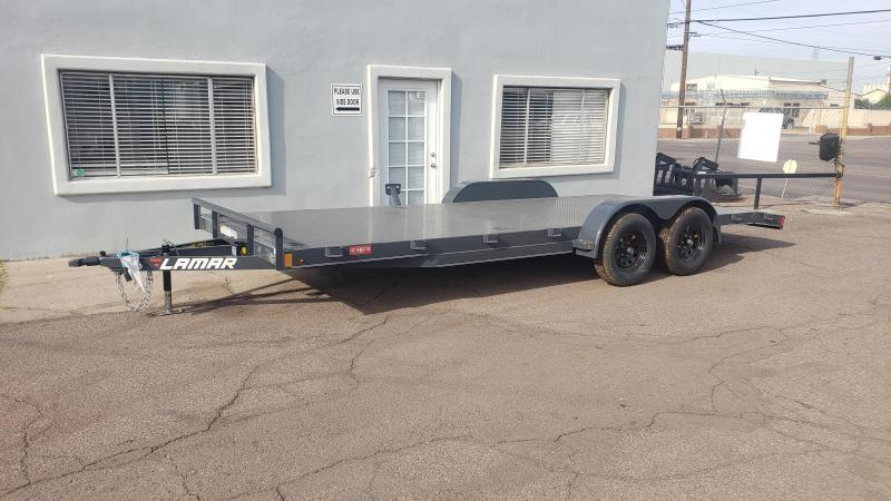 2020 Lamar 18' Open Car hauler 7000# GVWR- Steel deck- 8 flush mount D-rings-  2' dove tail- slide in rear ramps- **cash discounts** See below