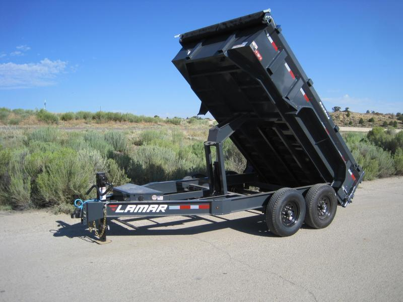 **ON SALE NOW** Lamar Heavy Duty Dump Trailer- 7x14- 14000# GVWR- Scissor Hoist- Ramps- Deluxe Tarp Kit- 3-way Spreader Gate- Adj Coupler- Cash Discounts (See Below)