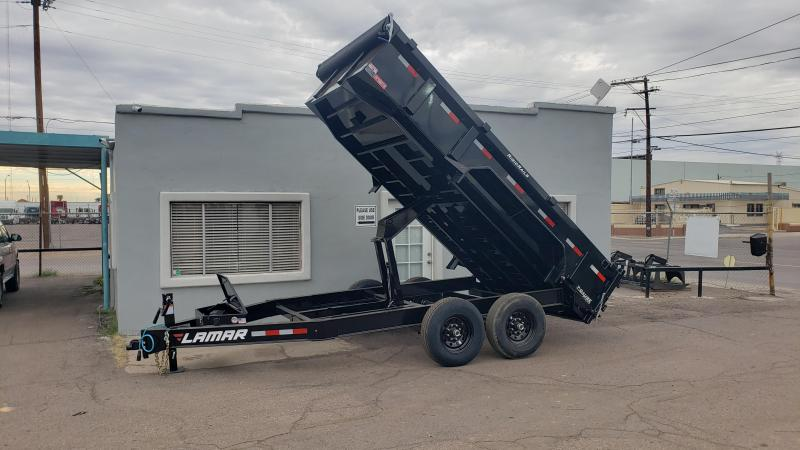 **ON SALE NOW** 2020 Lamar Heavy Duty Dump Trailer- 7x14- 14000# GVWR- 12 inch cross pieces- Scissor Lift, FREE SPARE, Ramps- Deluxe Tarp Kit- 3-way Spreader Gate- Adj Coupler- Cash Discounts (See Below)