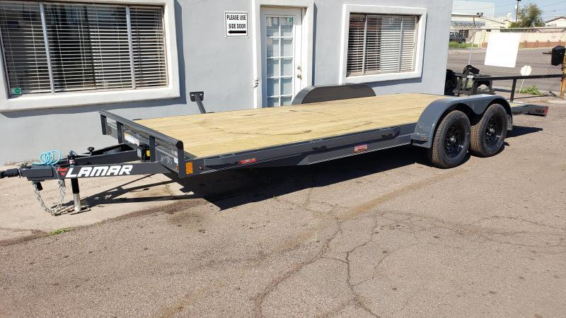ON SALE NOW- 2020 Lamar Trailers ce-3.5k-18 ft Car / Open Car Trailers- Free Spare Tire-  Stake Pockets with Rub Rail- Ramps; Pressure Treated Wood Floor- Delivery Available- Cash Discounts- LED Lights- Sealed Wiring Harness- Removable Fenders- Powder Co