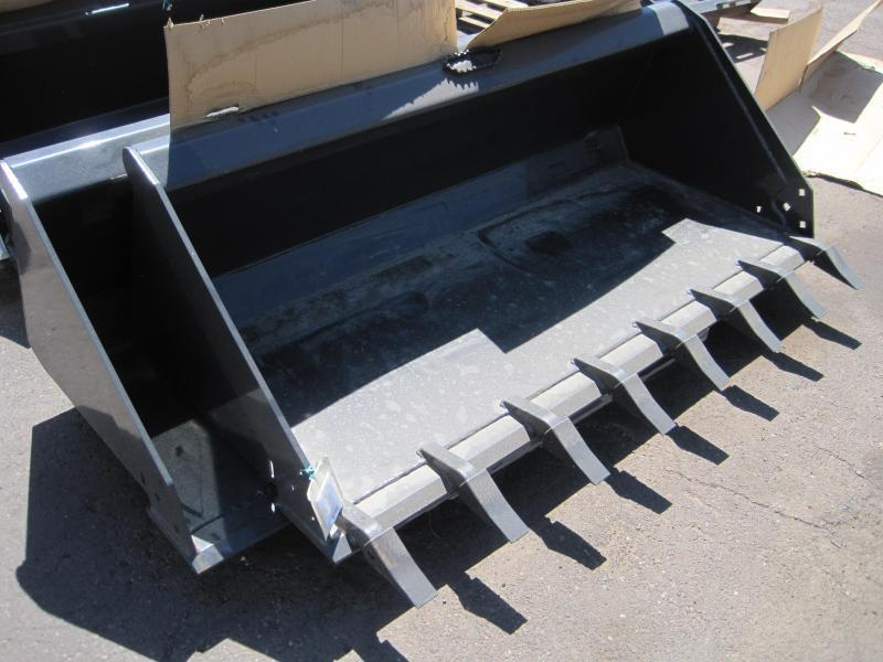 Skid Steer Attachments - Construction Implements Depot  Heavy Duty Low Profile Bucket 72 inch w Teeth