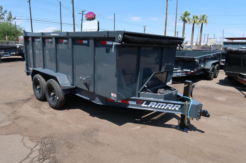 **ON SALE NOW** 2020 Lamar Heavy Duty Dump Trailer- 7x14- 14000# GVWR- **UPGRADED 14 PLY RUNNING TIRES WITH SPARE- **4 FT SIDES- Scissor Lift, Ramps- Deluxe Tarp Kit- 3-way Spreader Gate- Adj Coupler- Cash Discounts (See Below)