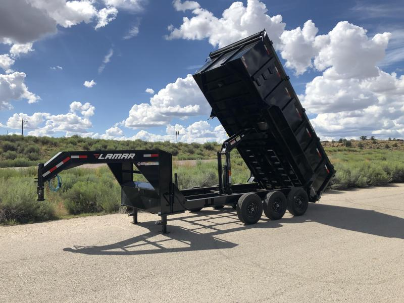2019 Lamar Trailers DL-21k-gooseneck-4' side Dump Trailer