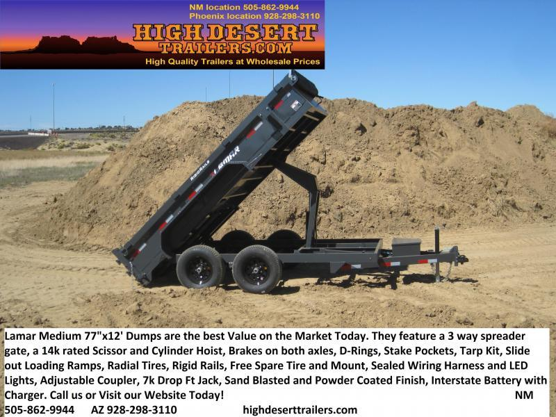 2020 Lamar Dump Trailer- Tarp- Ramps- Free Spare Tire- Powder Coated- Lowest Prices- Highest Quality