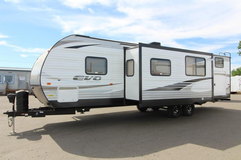 2018 Forest River EVO 2990 Travel Trailer - NEW Floorplan! Sleeps 8! - Outside Kitchen - Dinette and Sofa in Slide Out - 3 Bunk Beds! Silver Birch Interior Decor - PRICE REDUCED BY $1700