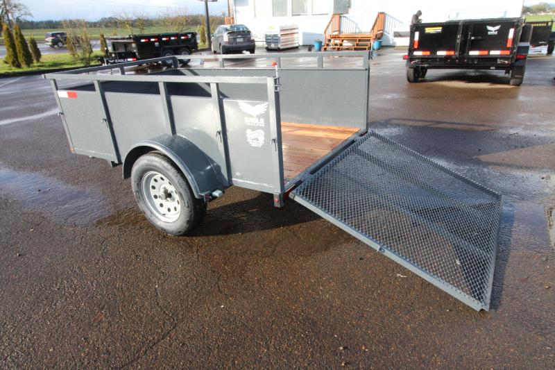 "2019 Eagle 5x8 Falcon Utility Trailer - 800 lb Dry weight -  24"" Solid metal sides - 4' Ramp 1500# - 2x6 Fir decking - Front fender step"