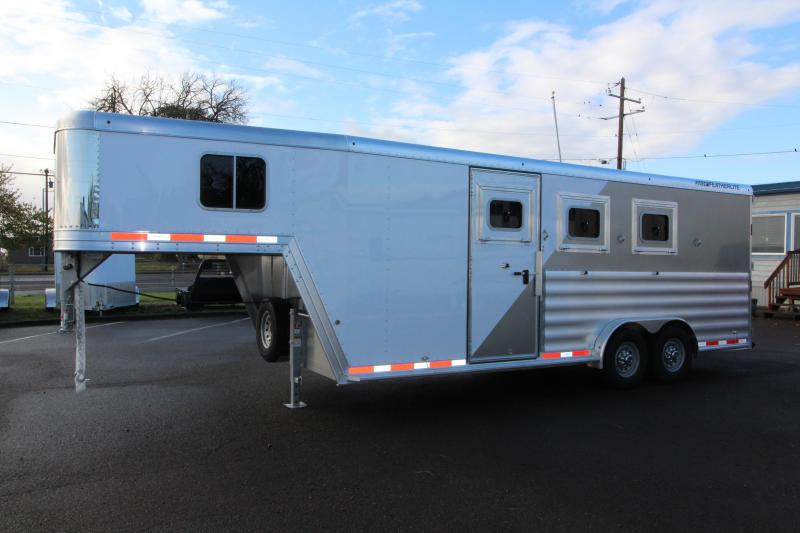 """2018 Featherlite 8542 Legend  - 3 Horse - All Aluminum - 7'6"""" Wide & 7'6"""" Tall - BIG horse Trailer-  Dual Colored Exterior - LED Load Lights - Extra Large 50"""" Stalls!"""