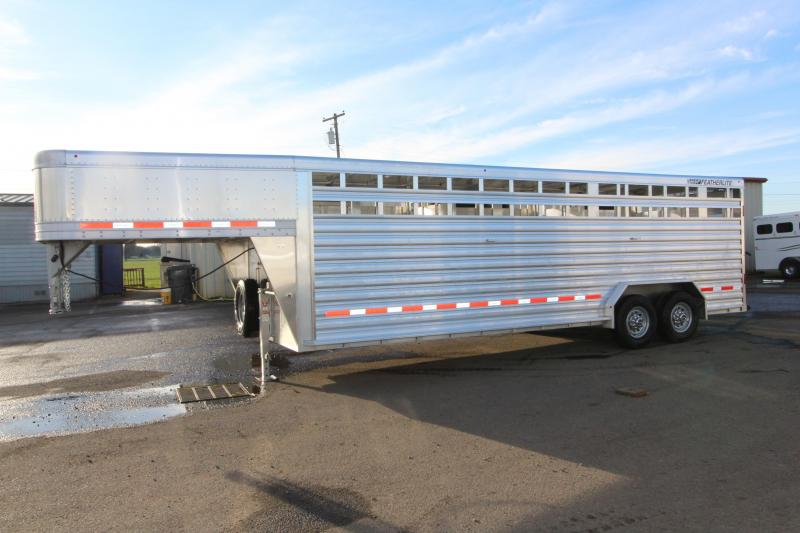 "2018 Featherlite 8127 - 24' All Aluminum Livestock Trailer - 7'6"" Wide 6'6"" Tall - Double Center Gates with Sliders"