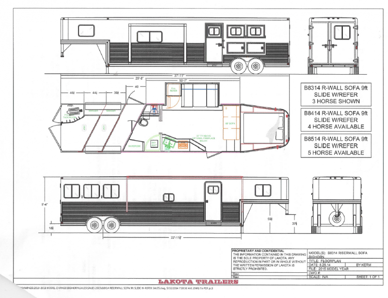 2015 Lakota Bighorn LQ - 14' SW - 8' Wide 3 Horse LQ - ON ORDER - Arrives January 2015