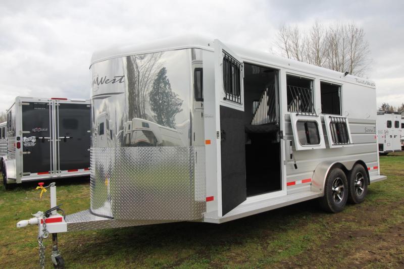 2018 Trails West Sierra II - Upgraded Extra Large Tack Room - 3 Horse Trailer - Aluminum Skin Steel Frame