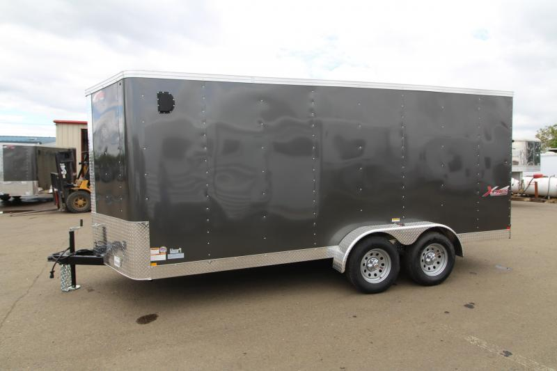 2019 Mirage Xpres - 7 x 16 Utility Trailer - Charcoal metallic Exterior color - Tandem axle 3500# axles - Xtra package - RV mandoor on curbside - A frame V-nose