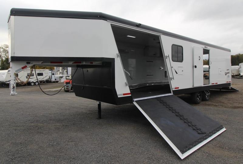 2019 Trails West RPM 28ft GN Burandt Edition Snowmobile Trailer w/ power rear ramp & car option